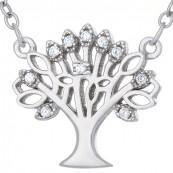 Naszyjnik srebrny próby 925 celebrytka w kształcie drzewka z cyrkoniami.
