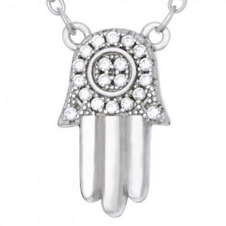 Naszyjnik wykonany ze srebra 925 z  zawieszką ręki Fatimy ozdobionej cyrkoniami.