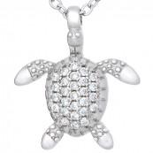 Naszyjnik srebrny próby 925 żółw celebrytka z cyrkoniami.