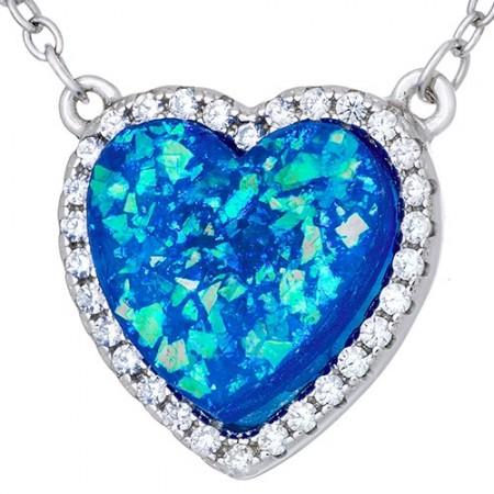 Naszyjnik srebrny 925 niebieskie serce z cyrkoniami.