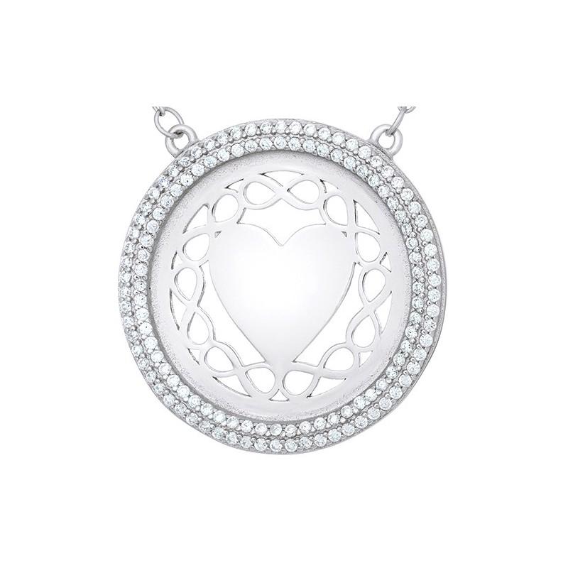 Naszyjnik srebrny 925 serce w ażurowym kole celebrytka z cyrkoniami.
