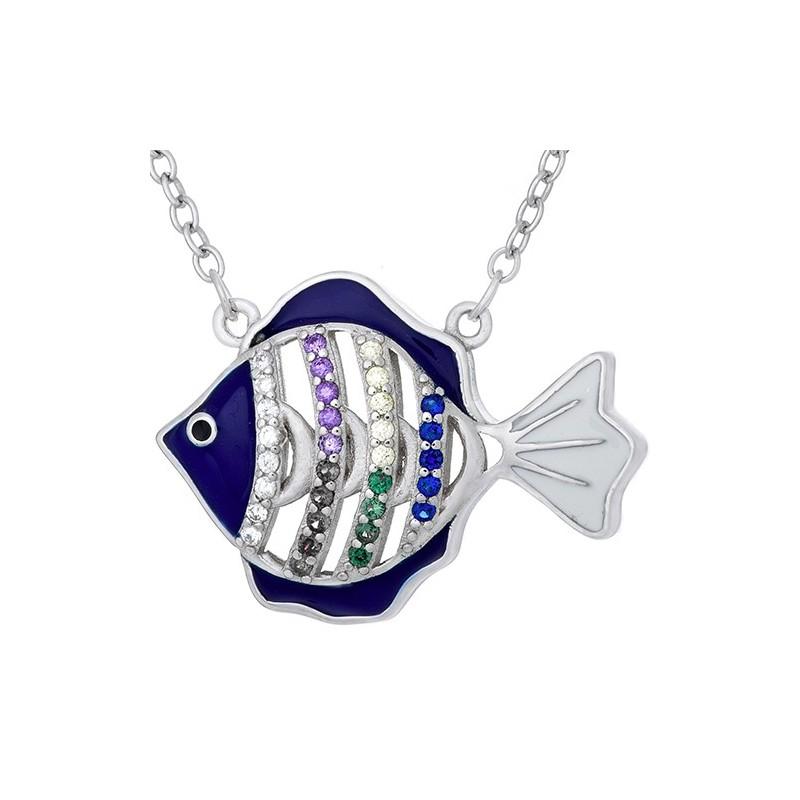 Naszyjnik srebrny próby 925  z niebieską emalią i cyrkoniami o kształcie rybki.