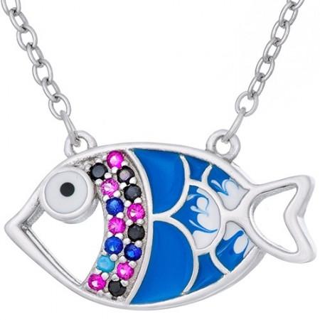 Naszyjnik srebrny próby 925 z biało-niebieską emalią i kolorowymi cyrkoniami o kształcie rybki.