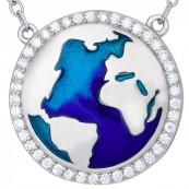 Naszyjnik srebrny 925 mapa świata celebrytka z emalią i cyrkoniami.