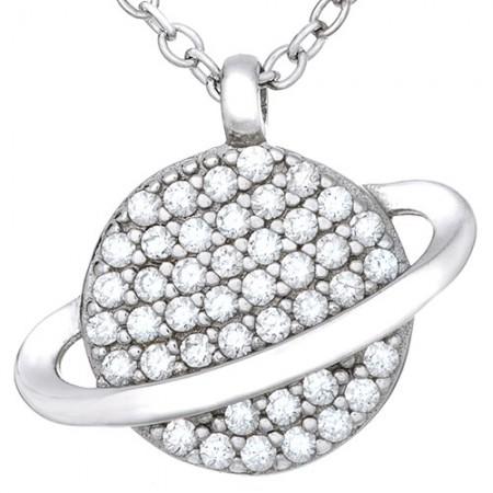 Naszyjnik srebrny 925 w kształcie  planety celebrytki z cyrkoniami.