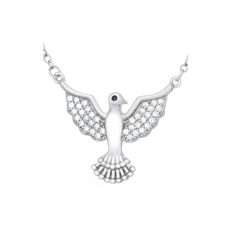 Naszyjnik srebrny 925  celebrytka z cyrkoniami o kształcie gołąbka z rozłożonymi skrzydłami.