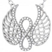 Naszyjnik srebrny 925 celebrytka o kształcie znaku nieskończoność połączonej ze skrzydłami i cyrkoniami.