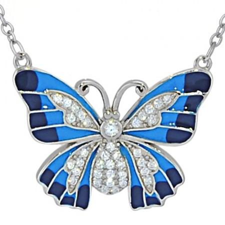 Naszyjnik srebrny motyl z...