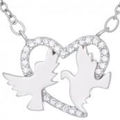 Naszyjnik srebrny  925 celebrytka o kształcie serca z gołąbkami  i cyrkoniami.