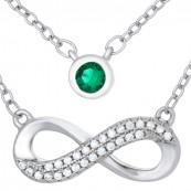 Naszyjnik srebrny próby 925 z podwójnym łańcuszkiem nieskończoność celebrytka z cyrkoniami i duża zielona cyrkonia.