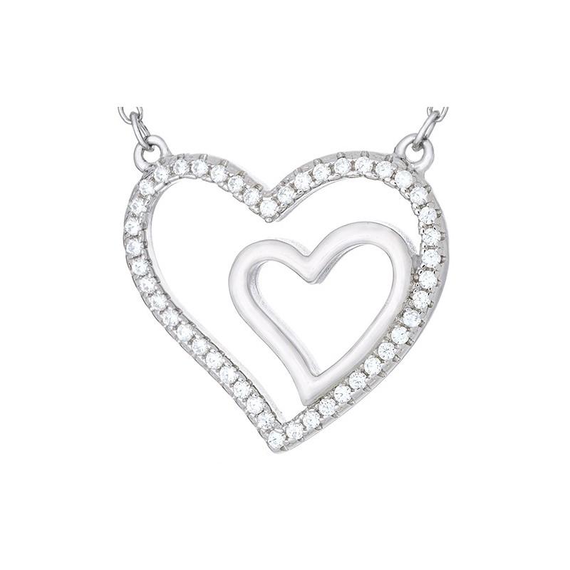 Naszyjnik srebrny próby 925 jest to celebrytka o kształcie podwójnego serca z cyrkoniami.