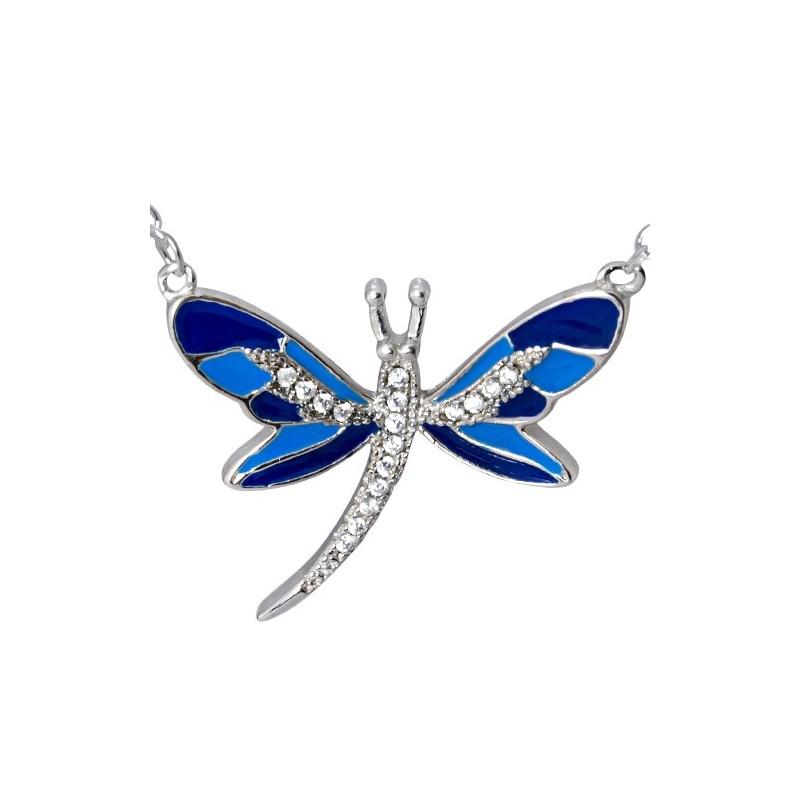 Naszyjnik srebrny próby 925 o kształcie ważki z emalią w odcieniach niebieskich i cyrkoniami.