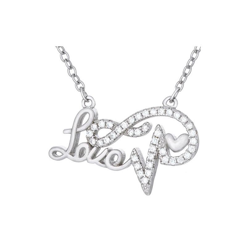 Naszyjnik srebrny 925 celebrytka z napisem  love,  linią bicia serca i cyrkoniami.