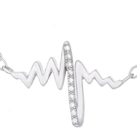 Naszyjnik srebrny próby 925 celebrytka o kształcie linii bicia serca z cyrkoniami.
