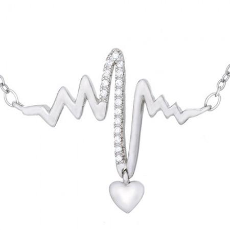 Naszyjnik srebrny próby 925 celebrytka w kształcie  linii życia z cyrkoniami i maleńkim wiszącym serduszkiem.