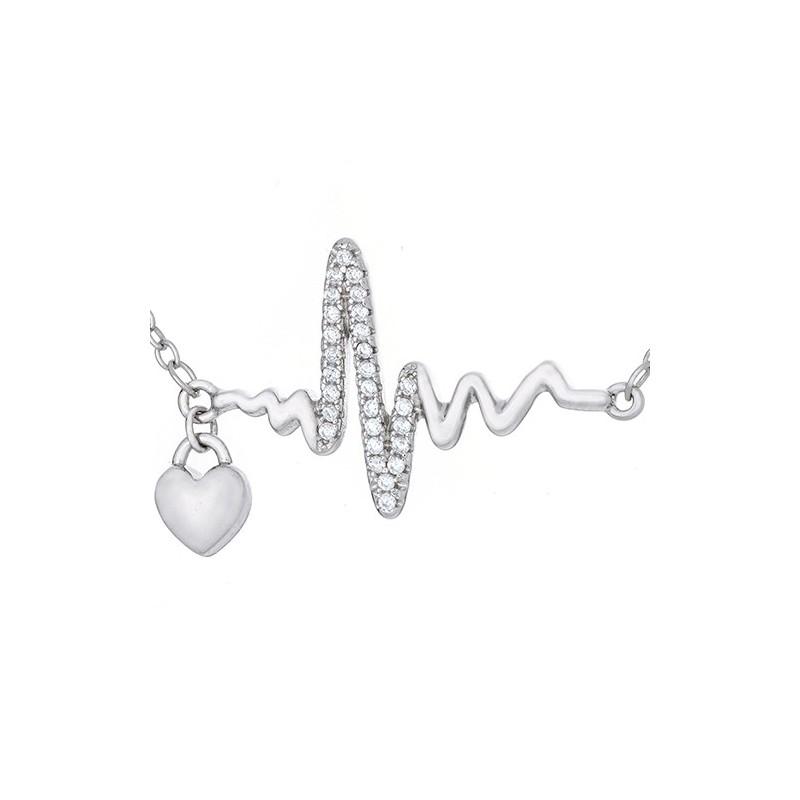 Naszyjnik srebrny  próby 925 celebrytka o kształcie linii bicia serca z cyrkoniami i maleńkim wiszącym serduszkiem.