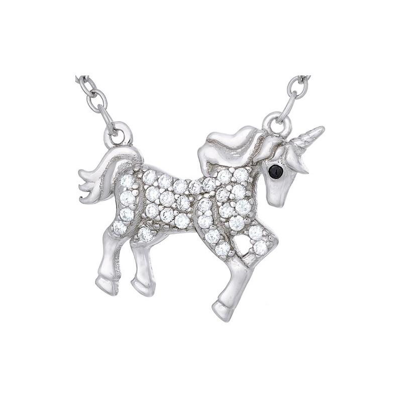 Naszyjnik srebrny próby 925  piękna celebrytka o kształcie jednorożca z cyrkoniami.