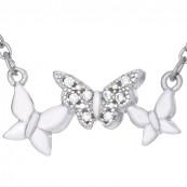 Naszyjnik wykonany ze srebra próby 925 celebrytka o kształcie trzech połączonych motylków.