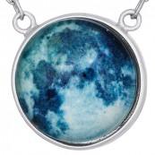 Naszyjnik srebrny 925  celebrytka obraz kuli ziemskiej przykryty kopułą ze szkła.