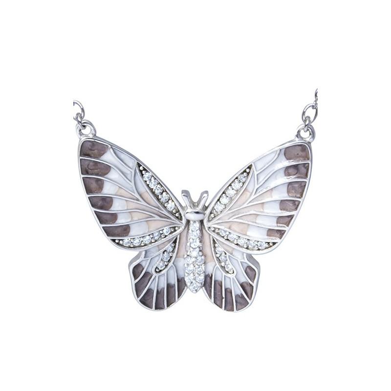 Naszyjnik srebrny próby 925 o kształcie dużego motylka z emalią i cyrkoniami.