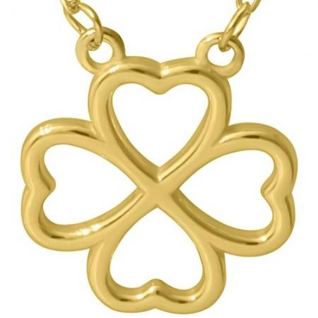 Naszyjnik srebrny 925 pozłocony 24-karatowym złotem  celebrytka z zawieszka koniczynką.