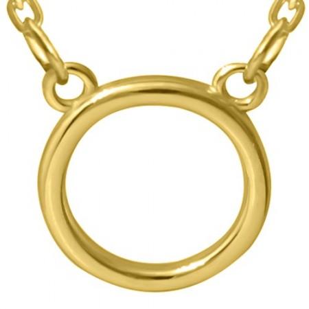Pozłacany naszyjnik ze srebra 925 w typie celebrytki o prostej formie koła.