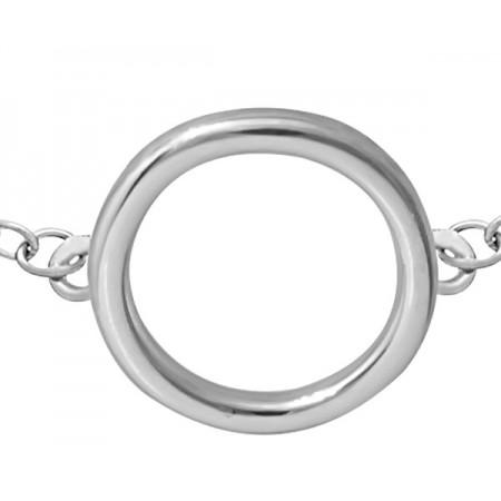 Bransoletka ze srebra 925 typu celebrytka z elementem gładkiego kółka.