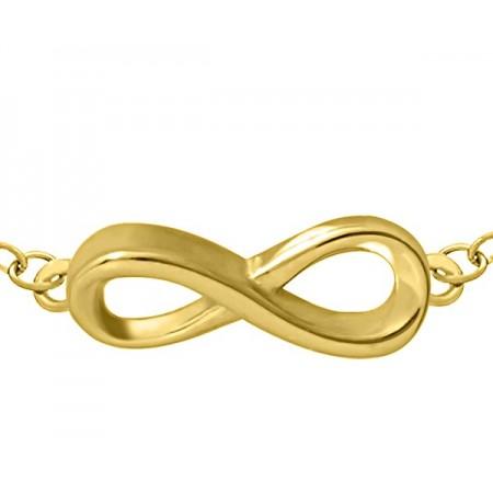 Bransoletka srebrna typu celebrytka pozłocona 24-karatowym złotem z gładkim znakiem nieskończoności.
