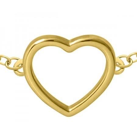 Bransoletka celebrytka ze srebra 925 pozłocona 24-karatowym złotem z gładkim serduszkiem.