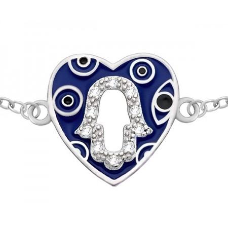 Bransoletka celebrytka ze srebra 925 z emaliowanym na niebiesko serduszkiem a w środku Ręka Fatimy z cyrkoniami.