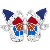 Bransoletka celebrytka ze srebra 925 z kolorowym motylem malowanym ręcznie emalią i cyrkoniami.
