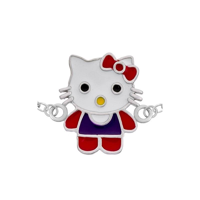 Bransoletka celebrytka ze srebra 925 ręcznie malowany kotek kolorowa emalia.