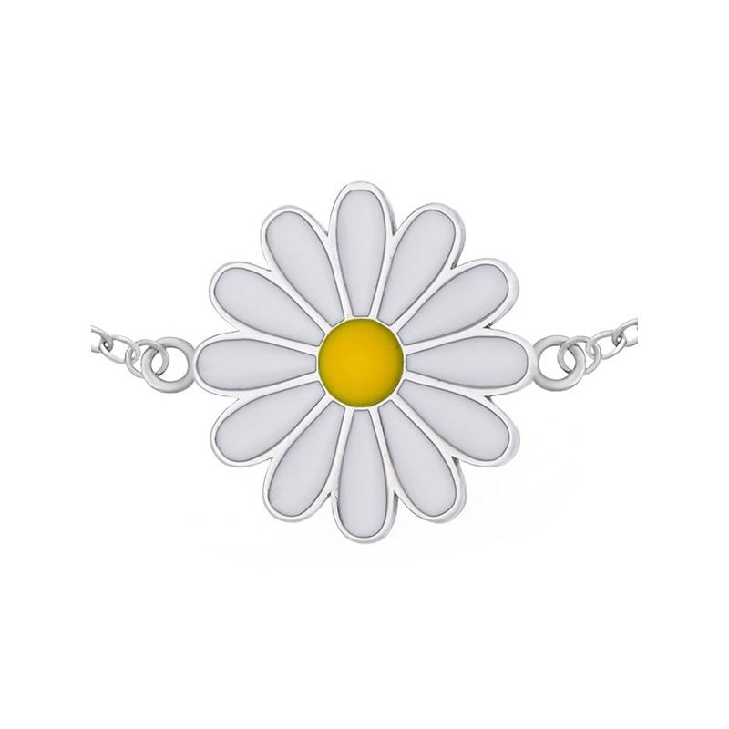 Bransoletka celebrytka ze srebra 925 z emaliowanym kwiatkiem margaretką.