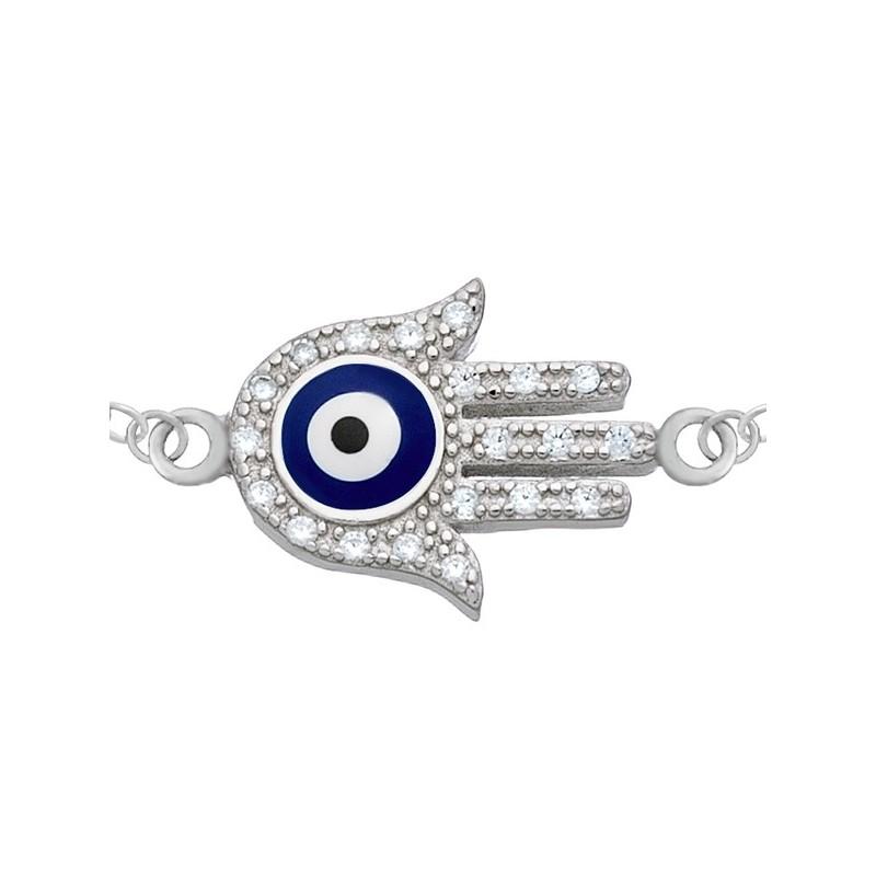 Bransoletka celebrytka ze srebra 925 Ręka Fatimy z niebiesko-białą emalią i cyrkoniami.