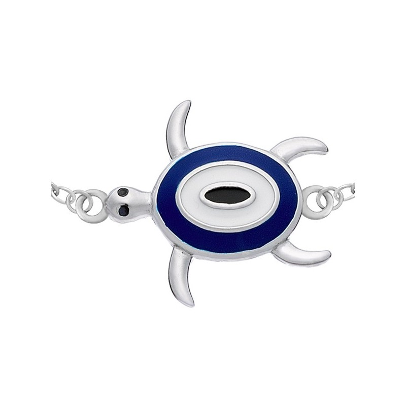 Bransoletka celebrytka ze srebra 925 z żółwiem malowanym ręcznie emalią w niebieskim, białym i czarnym kolorze.