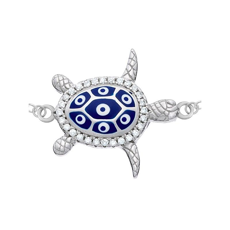 Bransoletka celebrytka ze srebra 925 z zawieszką w kształcie żółwika z niebiesko-białą emalią emalią i cyrkoniami.