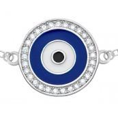 Bransoletka celebrytka ze srebra 925 o kształcie koła z malowanym emalią okiem proroka i cyrkoniami.
