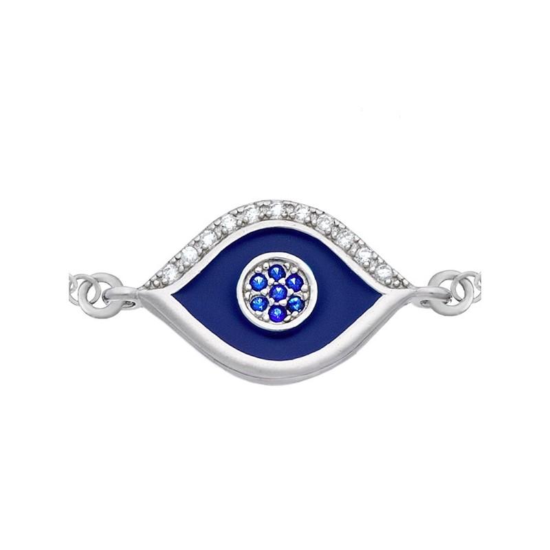Bransoletka oko proroka ze srebra 925 malowana emalią w niebieski kolorze i cyrkoniami.