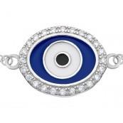 Bransoletka srebrna 925 ze wzorem oka proroka malowana niebieska i białą emalia oraz z cyrkoniami.