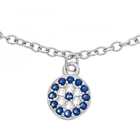 Bransoletka ze srebra 925 z z pięcioma wiszącymi okrągłymi elementami z cyrkoniami w kolorze białym i niebieskim.