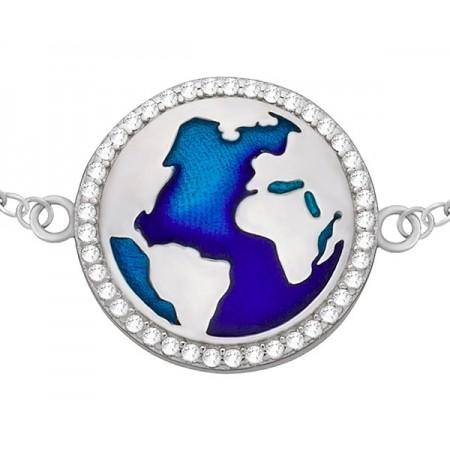 Bransoletka ze srebra 925 z okrągłym wzorem mapy świata z emalią i cyrkoniami.