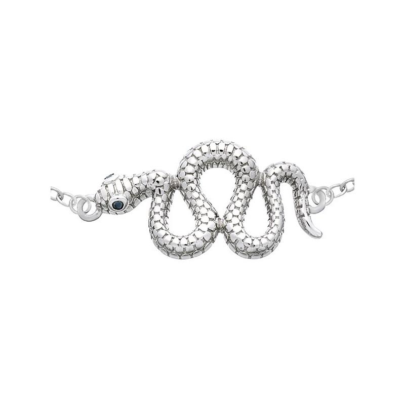 Bransoletka srebrna 925 z elementem wijącego się węża  i cyrkoniami.