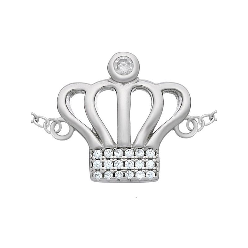 Bransoletka korona ze srebra 925 ozdobiona cyrkoniami.