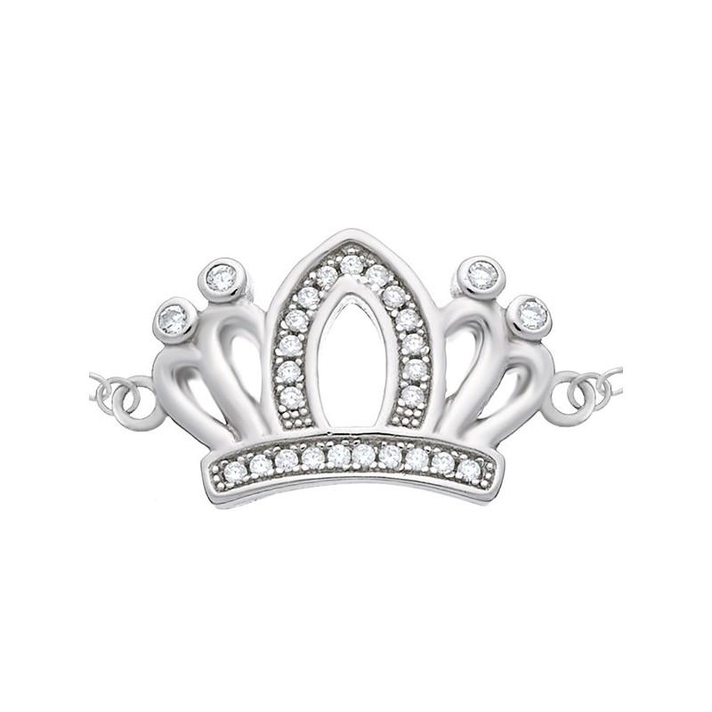 Bransoletka ze srebra 925 z zawieszką koroną ozdobioną cyrkoniami.