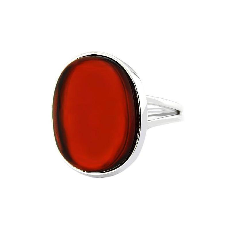 Unikatowy pierścionek ze srebra 925 z pięknym bursztynem o wiśniowej barwie.