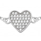 Bransoletka ze srebra 925 z zawieszka w kształcie serduszka wypełnionego cyrkoniami.