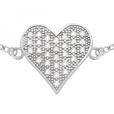 Bransoletka srebrna serce...