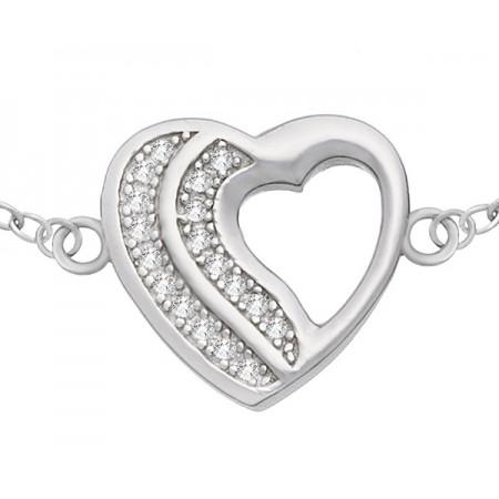 Bransoletka serce wykonana ze srebra 925 z dwoma rzędami cyrkonii.