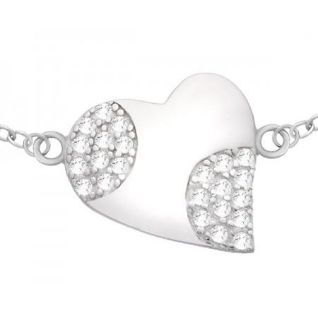 Piękna bransoletka srebrna 925 z zawieszka w kształcie serca i cyrkoniami.