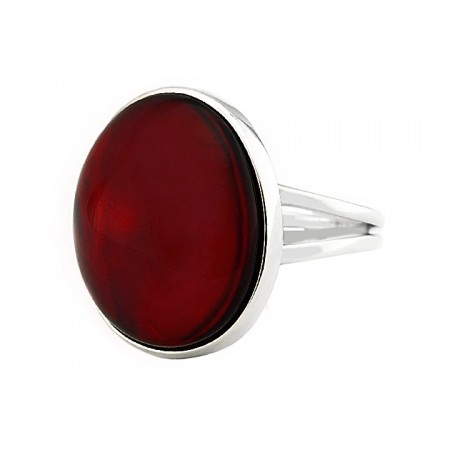 Unikatowy pierścionek ze srebra 925 z pięknym wiśniowym bursztynem.